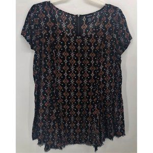 Torrid Black Southwestern Raw Hem Top